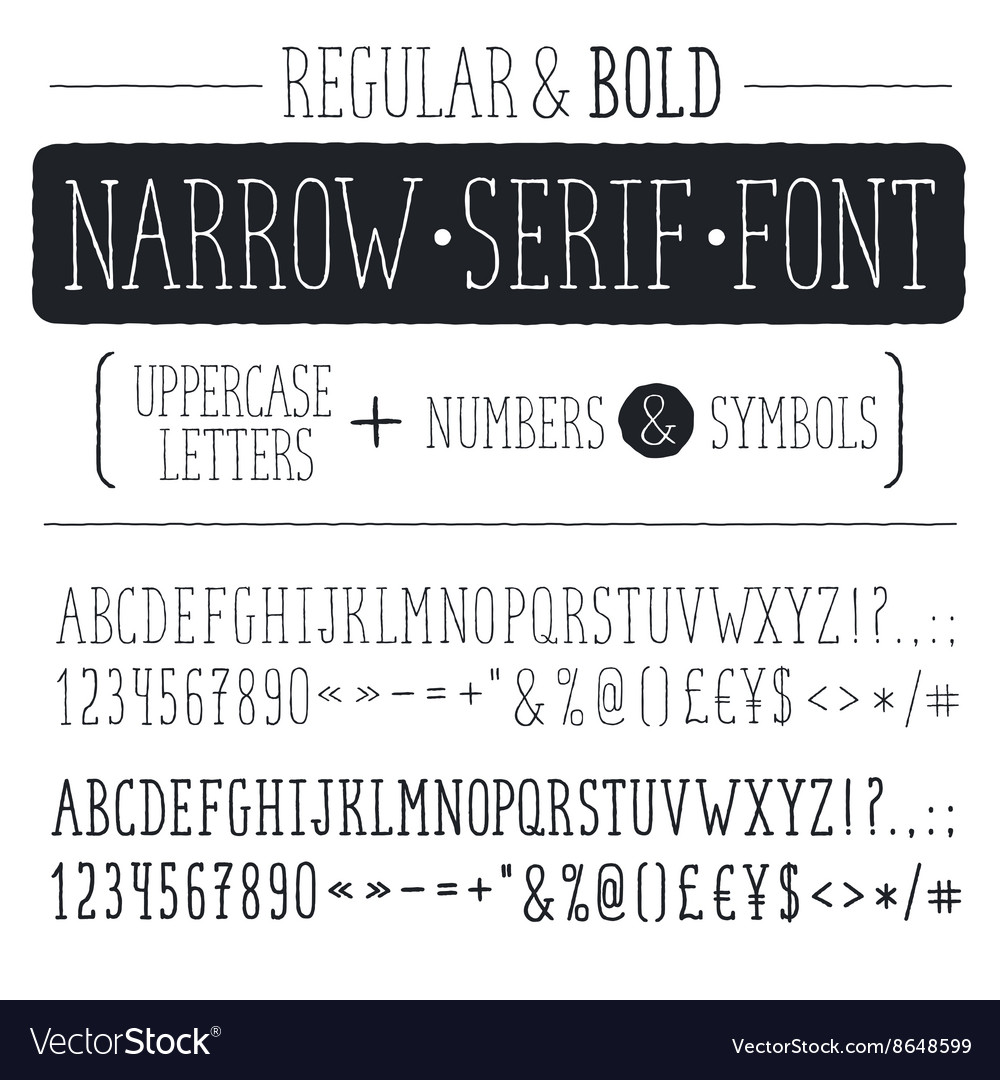 Narrow font vector