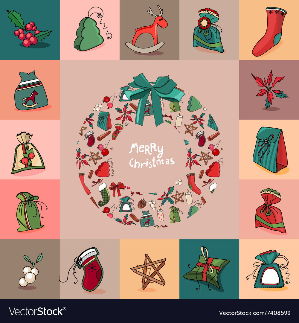 Set with traditional christmas elements for vector
