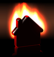 Burning home icon in flames vector
