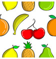 colorful fruit pattern collection style vector image