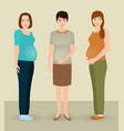 happy pregnancy concept group of three pregnant vector image