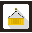 Crane lifts yellow container icon flat style vector image