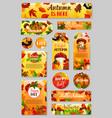 autumn tag of fall harvest pumpkin mushroom leaf vector image