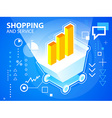 bright shopping trolley and bar chart on blu vector image
