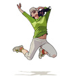 cartoon girl jumping vector image