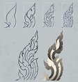 Freehand drawing Kanok Thai arts pattern design vector image