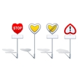Heart shape road signs - priority etc vector image