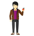 Man holding apple vector image