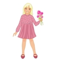 Teenager girl with blond hair and flowers in hand vector image