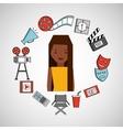 cartoon girl cinema movie icons vector image