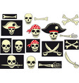 pirates skull set vector image vector image