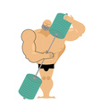 Bodybuilder loves a barbell Athlete hugs sports vector image