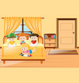 four kids reading book in bedroom vector image