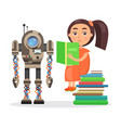 girl sits on pile of books and reads beside robot vector image