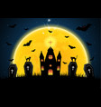 halloween coffin graveyard castle moon bat vector image