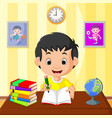 happy kid studying vector image