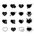 Hearts black icons vector image