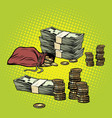 stack of dollars and golden coins vector image