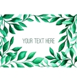 Watercolor green leaves frame for wedding and vector image