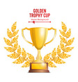 golden trophy cup with laurel wreath award design vector image