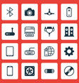 set of 16 computer hardware icons includes cd-rom vector image