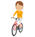 beautiful young woman riding bicycle vector image