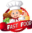 Food poster with chef and food vector image vector image