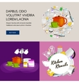 Food and cooking banner set with kitchenware vector image