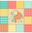 Elephant patchwork pattern vector image
