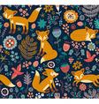 Foxy pattern dark vector image