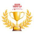 golden trophy cup with laurel wreath award design vector image