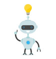robot man have ideabulb over the head vector image