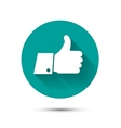 Social like flat icon on green background with vector image