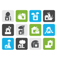 Flat home and house insurance and risk icons vector image vector image