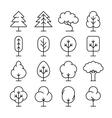 Tree thin line icons set vector image