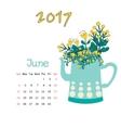 Calendar June 2017 Template Week starts vector image