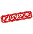 Johannesburg red square grunge retro style sign vector image