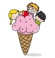 Children eating ice cream vector image
