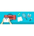 Man puts tennis stuff into sport bag banner vector image