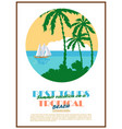 retro seaside view minimalistic advertising poster vector image