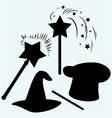 Set magic hat with magic wand sparkles vector image