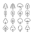 Tree thin line icons set vector image