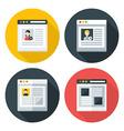 Web page flat circle icons set vector image