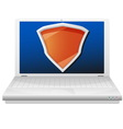 Laptop computer and orange shi vector image vector image