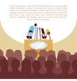 Rostrum tribune with microphones in spotlight on vector image