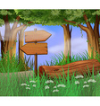 Scene with wooden signs in the woods vector image