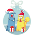 Cat and Dog with Christmas Gifts Cartoon vector image vector image