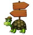 A turtle under an empty arrowboard vector image