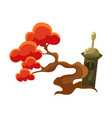 red tree and stupa tomb bonsai miniature vector image