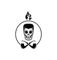 skull tobacco pipe smoker vector image